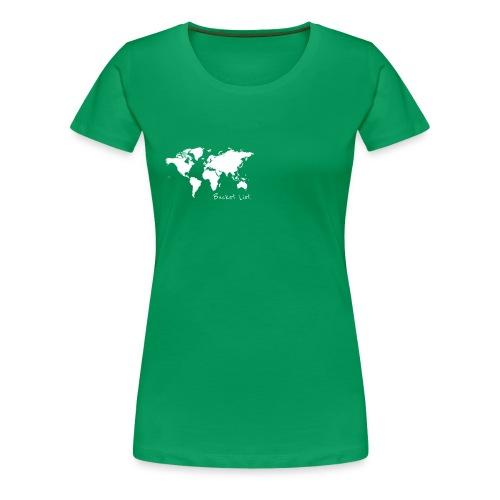 Weltkarte als Bucket List / Wanderlust - Frauen Premium T-Shirt