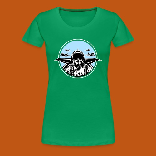 Jet Pilot / Kampfpilot 01_schwarz weiß - Frauen Premium T-Shirt