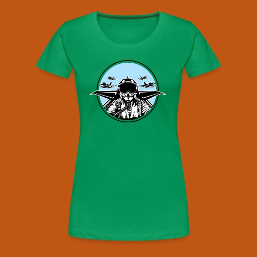 Jet Pilot / Kampfpilot 01_weiß Schwarz - Frauen Premium T-Shirt