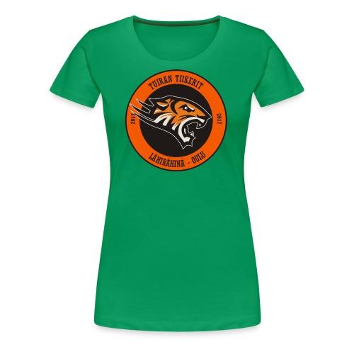 Tuiran Tiikerit, värikäs logo - Naisten premium t-paita