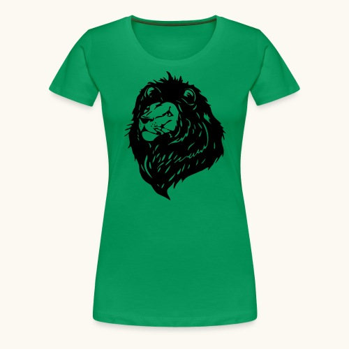 Lions tête fièrement élevés avec crinière noire - T-shirt Premium Femme