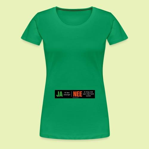 Ja-Nee sticker. Ja, zwanger, Nee niet mijn buik - Vrouwen Premium T-shirt