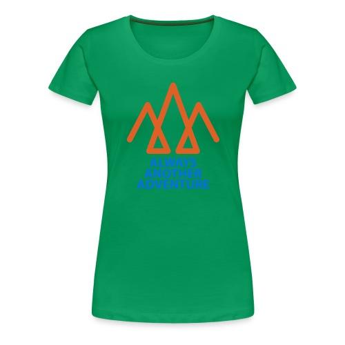 Orange logo, blue text - Women's Premium T-Shirt