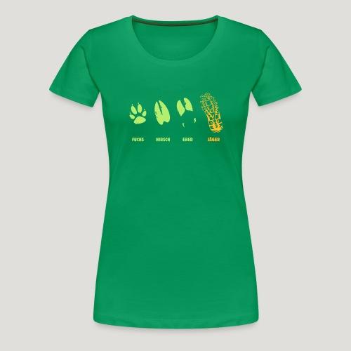 Fuchs, Reh, Wildschwein, Jäger, Trittsiegel, Fährt - Frauen Premium T-Shirt