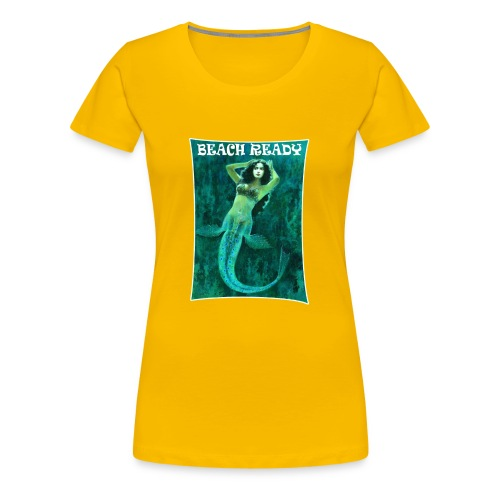 Vintage Pin-up Beach Ready Mermaid - Women's Premium T-Shirt
