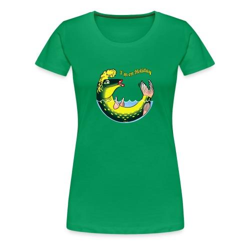 LADY FISH HOLIDAY - Haukileidi lomailee tekstiilit - Naisten premium t-paita