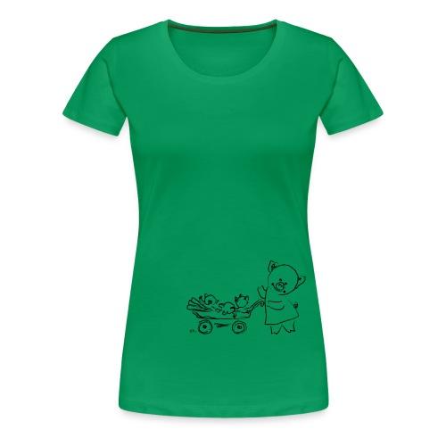 mama pig with 3 piglets - Women's Premium T-Shirt