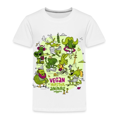 Vegan Hipster Animals - Kinder Premium T-Shirt