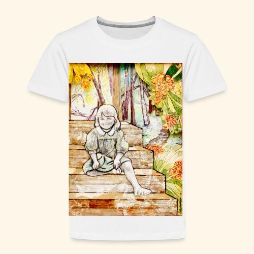 Girl on stairs - Lasten premium t-paita
