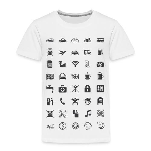 T-shirt för resan med mörka ikoner - Premium-T-shirt barn