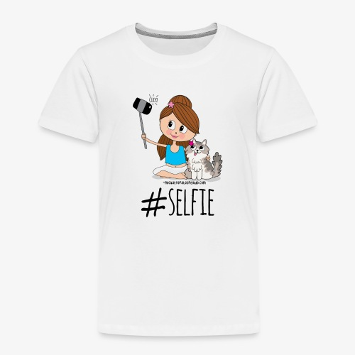 Chica y gato haciéndose foto - Camiseta premium niño