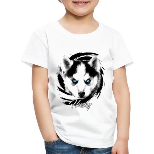 10-48 HUSKY BLUE EYES - DOG TEXTILES GIFTS WEBSHOP - Lasten premium t-paita