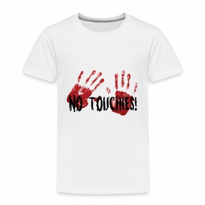 No Touchies 2 Bloody Hands Behind Black Text - Kids' Premium T-Shirt