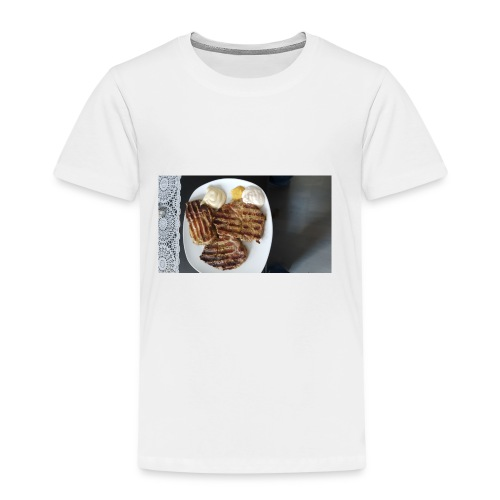 Fleisch auf Teller mit Sauce - Kinder Premium T-Shirt