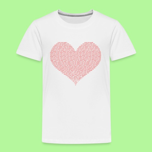Typography Heart Shape Design Red Text I Love You - Kids' Premium T-Shirt