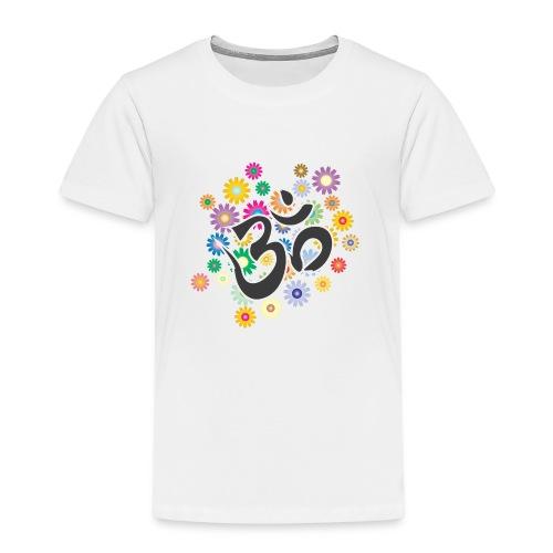 Om Aum Mantra Symbol Flowers - Kinder Premium T-Shirt