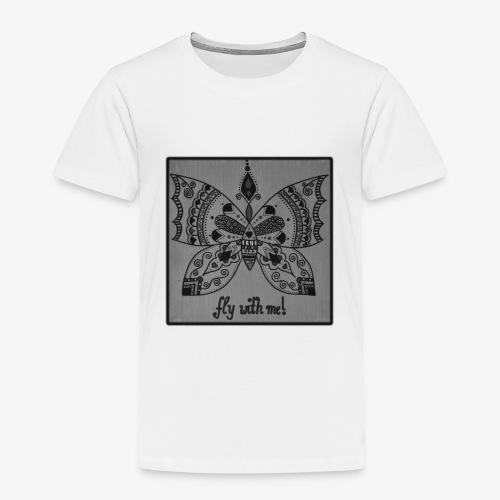 Schmetterling SW Mandala Handgemalt Geschenkidee - Kinder Premium T-Shirt