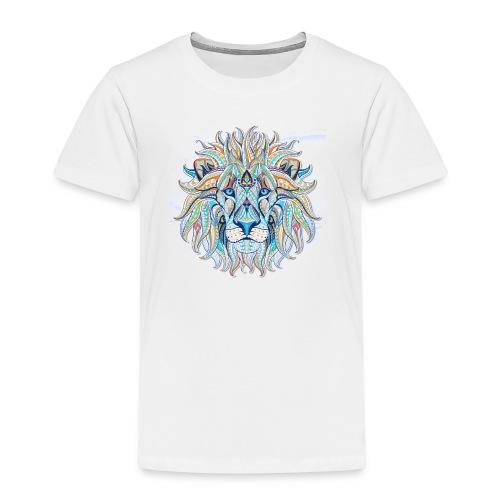 stock vector patterned head of the lion on the gru - Camiseta premium niño