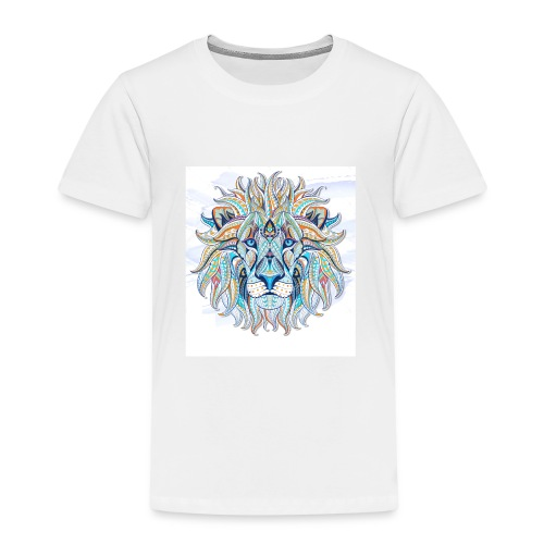 stock vector patterned head of the lion on the gru - Camiseta premium niño