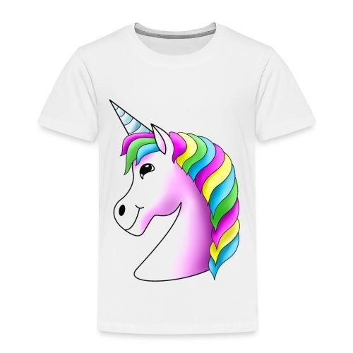 Rosa Einhorn mit Regenbogen-Mähne - Kinder Premium T-Shirt