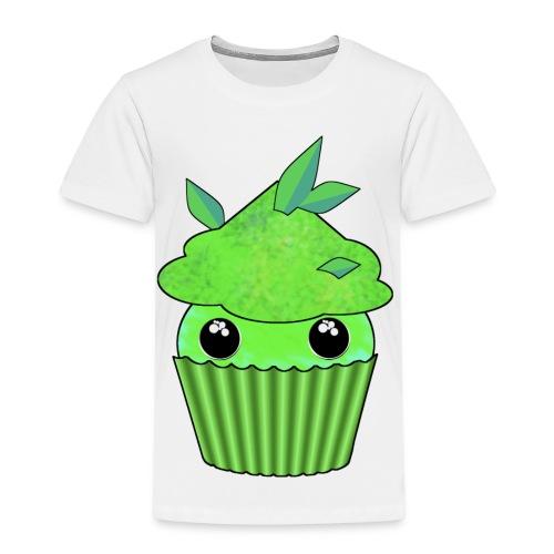 grön Kawaii Cupcake med mynta eller gröna te blad - Premium-T-shirt barn