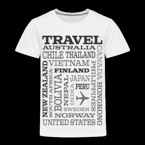 Travel Places Gray design - Lasten premium t-paita