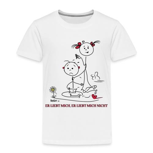 Strichmännchen Er liebt mich, er liebt mich nicht - Kinder Premium T-Shirt