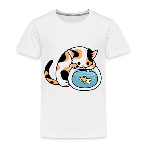 Katze mit Fisch im Glas - Kinder Premium T-Shirt