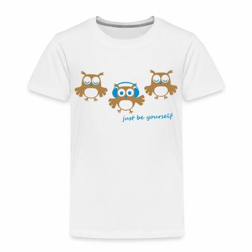 coole süße Eule tanzt Tanzen Kopfhörer Familie - Kinder Premium T-Shirt