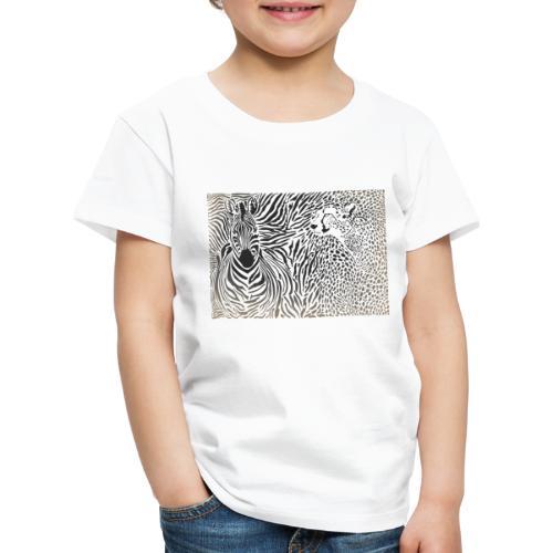 Zebra und Gepard und Musterhintergrund - Kinder Premium T-Shirt