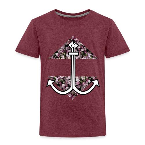 Anker mit Blumenmuster - Kinder Premium T-Shirt