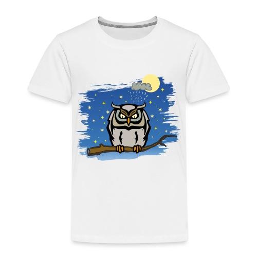 Eule Uhu Nachtschwärmer Vollmond Regenwolke Sterne - Kinder Premium T-Shirt