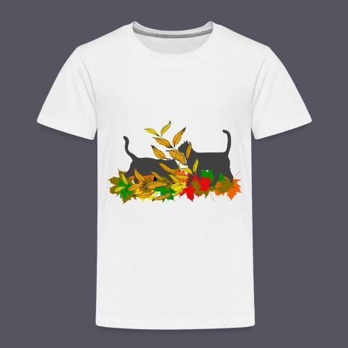 spielende Katzen in bunten Blättern - Kinder Premium T-Shirt