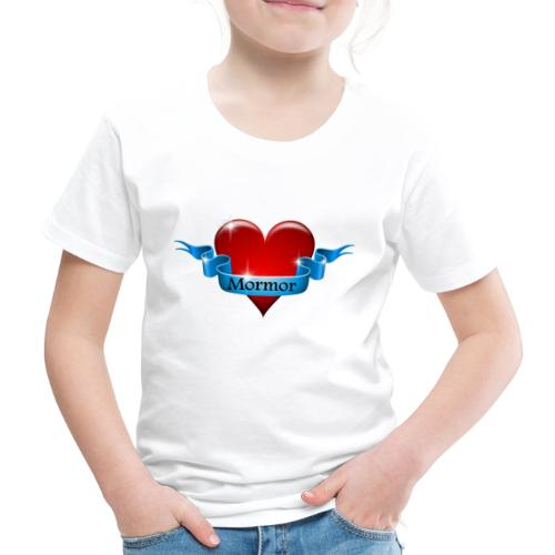 Mormor skrevet på blåt bånd om rødt hjerte - Børne premium T-shirt