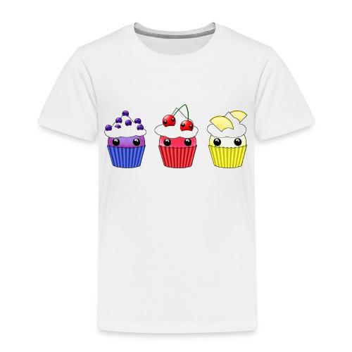 three kawaii cupcakes blueberry cherry lemon - Kids' Premium T-Shirt