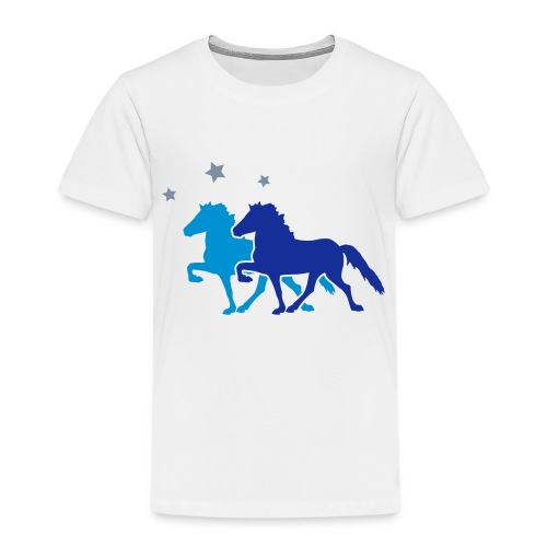 Two Horses with silver-metallic Stars - Kids' Premium T-Shirt