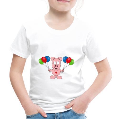 Lustiges Schwein - Luftballons - Geburtstag - Kids - Kinder Premium T-Shirt
