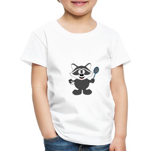 Lustiger Waschbär - Federball - Badminton - Kinder Premium T-Shirt