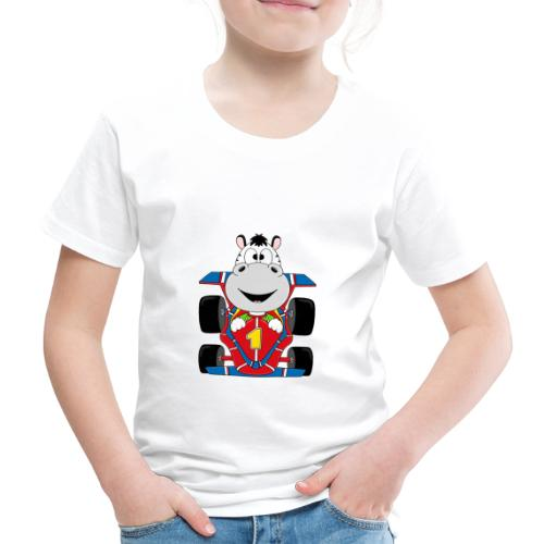 Lustiges Zebra - Rennauto - Auto - Nummer 1 - Kinder Premium T-Shirt