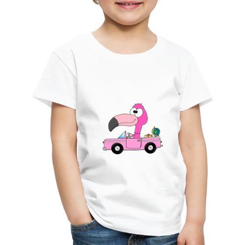 Lustiger Flamingo - Auto - Weltenbummler - Reise - Kinder Premium T-Shirt