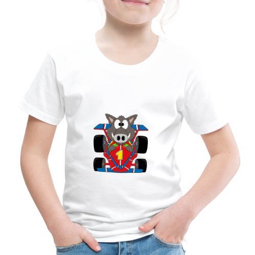 Lustiges Wildschwein - Rennwagen - Auto - Tier - Kinder Premium T-Shirt