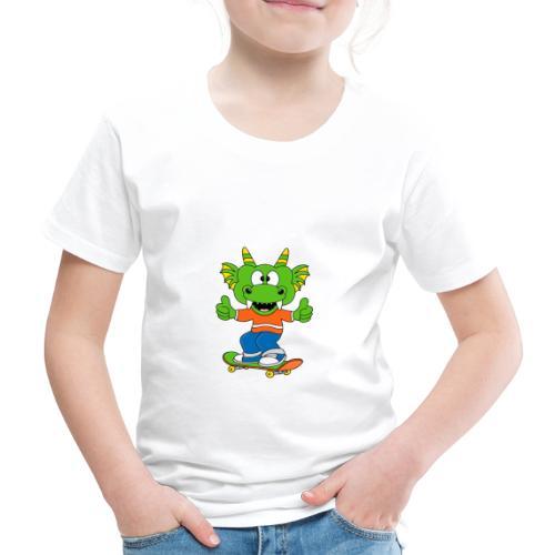Lustiger Drache - Dragon - Skateboard - Sport - Kinder Premium T-Shirt