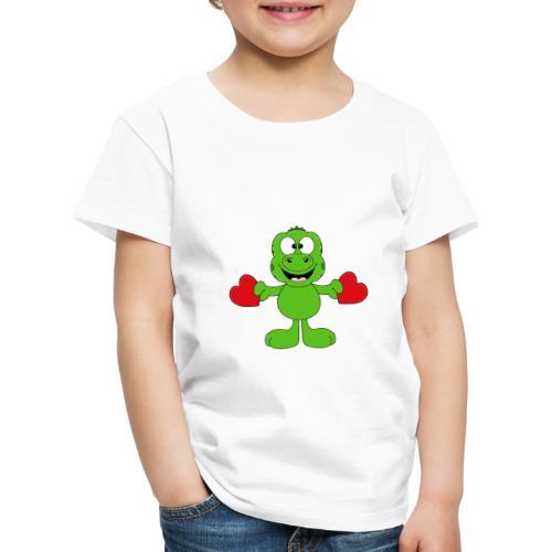 Lustiger Gecko - Echse - Herzen - Liebe - Love - Kinder Premium T-Shirt