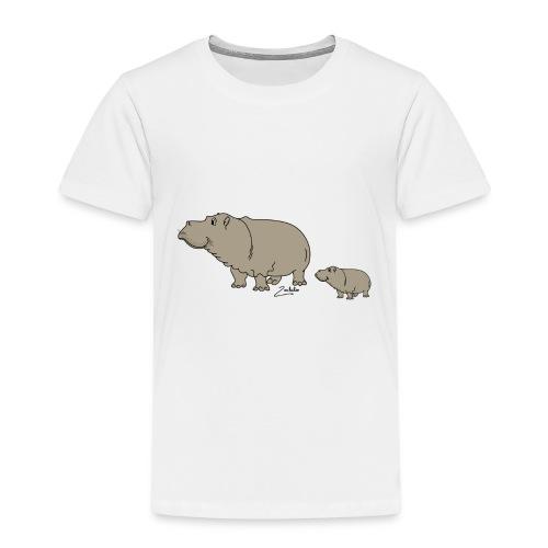 Hippo mit Baby - Kinder Premium T-Shirt