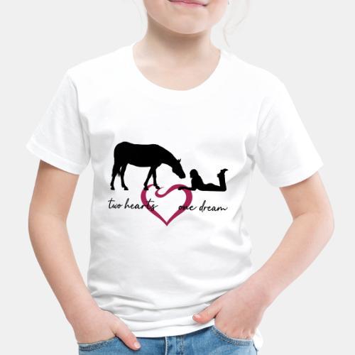 two hearts one dream liegendes Mädchen Pferd - Kinder Premium T-Shirt