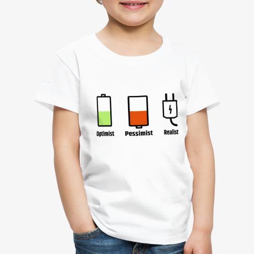 Akku-Philosophie: Optimist Pessimist Realist - Kinder Premium T-Shirt