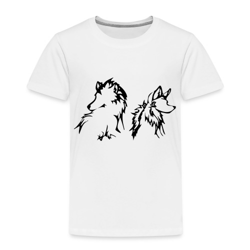 two wolves small - Børne premium T-shirt