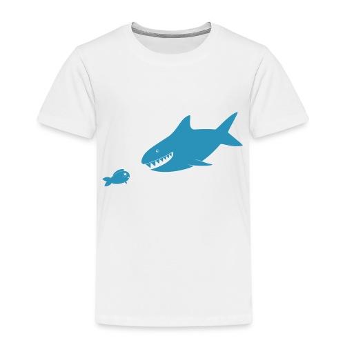 Kleiner Fisch + Hai / dunkler Hintergrund - Kinder Premium T-Shirt