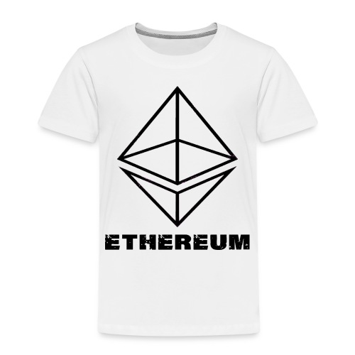 Ethereum Octahedron Line Drawing White - Kids' Premium T-Shirt