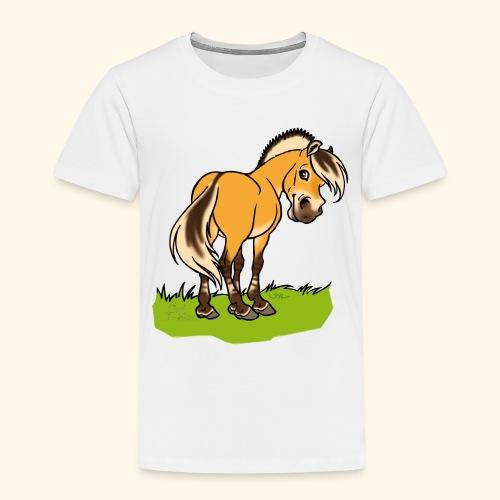Freundliches Fjordpferd (Ohne Text) Weisse Umrisse - T-shirt Premium Enfant